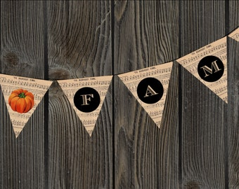 FAMILLE Thanksgiving Harvest musique Bunting