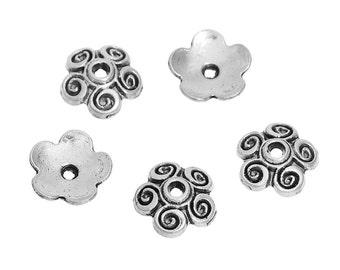 50 Antique Silver Swirl Bead Caps 10mm (B143m)