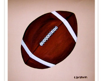 football. fine art print. original art. home decor. kids room. nfl. sports. ball. athlete. games. superbowl. nursery art.  traciebrownart.