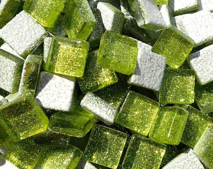 Lime Green Tiny Glitter Tiles - 1 cm - Use for Mosaic Jewelry Crafts - 100 Metallic Tiny Glass Tiles - Kids Projects