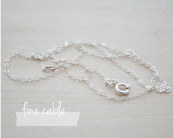 Sterling Silver Necklace Chain - Plain Necklace Chain - Sterling Silver Cable Necklace - Add on Charms - Simple Silver Necklace