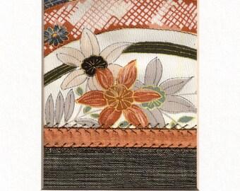 Floral Garden Mini Crazy Quilt Style Fabric Collage Vintage Silk Kimono Ready to Frame