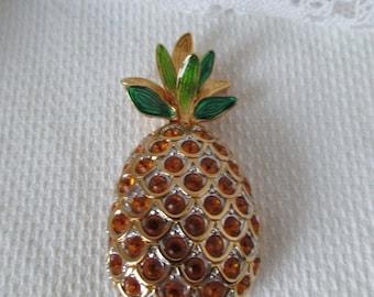 Swarovski Pineapple Pin Brooch Gold Jeweled Green Retired