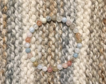 Morganite and Moonstone Beaded Stretch Bracelet