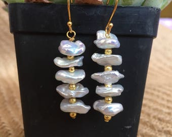 Baroque Pearl Dangle Earrings with Gold hooks