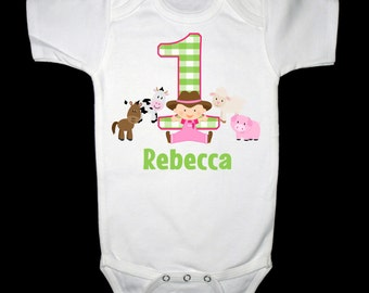 Personalized Farmer Girl with Cow, Horse, Pig, and Sheep First Birthday Shirt or Bodysuit - Personalized with ANY Name!