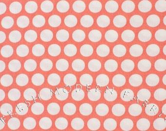 Reverse Dots in Coral, Mod Basics, Birch Fabrics, 100% Certified Organic Cotton