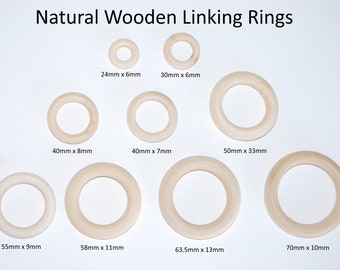 Natural Wooden Linking Rings - Choice of Size - DIY Jewellery Crafts - Curtain Rings