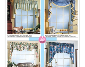 Sewing Pattern for Four Window Valances Patterns, McCall's Pattern 3089, Sew Designer Look Window Treatments for your Home, Valance Patterns