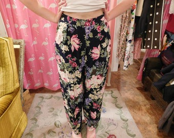 1990  carol Anderson Floral Pants/ garden pants/ summer floral/ garden party