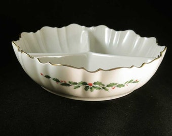 Lenox Holiday Divided Footed Bowl Holly & Berries