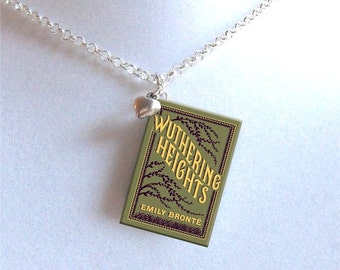 Wuthering Heights with Tiny Heart Charm - Miniature Book Necklace