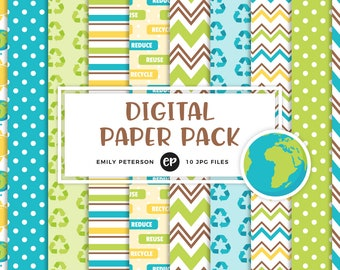 50% OFF SALE! Earth Day Digital Paper, Recycle Background Paper - Commercial Use, Instant Download