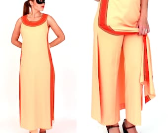 Vintage 1970s Orange Egyptian Style Dress and Pant Set by Alfred Shaheen | Small