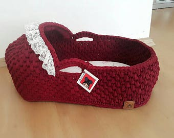 Baby Moses Basket , Baby Bassinet, Crocheted  Moses Basket ,Cribs with Matress