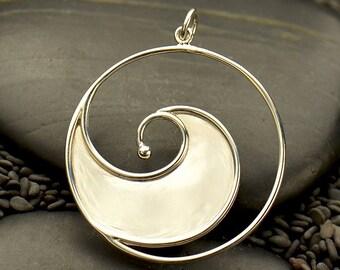 Sterling Silver, Ocean Wave, Large Pendant, Ocean Pendant, Wave Pendant, Ocean Charm, Ocean Jewelry, Wave Charm, Wave Jewelry, Silver Wave