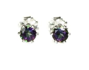 Mystic Topaz Stud Earrings Silver Mystic Topaz Earrings 4MM Round Rainbow Gemstone 925 Mystic Topaz Post Earrings Mystic Topaz Jewelry