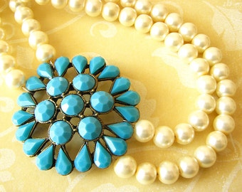 Statement Necklace Turquoise Jewelry Pearl Necklace Turquoise Necklace Beaded Necklace