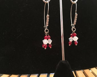 Earrings, dangle, beaded, red and white Swarovski crystals on a rhinestone beaded ear wire.