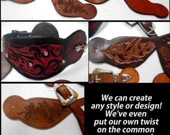 Boot Jewelry, Leather spur straps, Cowboy Spur Straps, Western Spur Straps,Womens Spur Straps, Boot Spur Straps, Black Spur Straps,