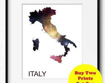 Italy Watercolor Stars Map Art Print (516) Europe Rome