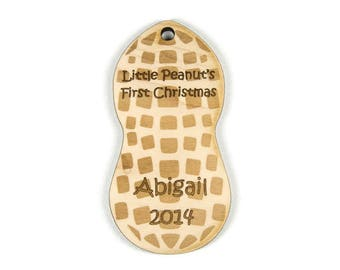 Baby's First Christmas Ornament Wooden Peanut, Christmas Ornament, Baby Christmas Ornament, Personalized Christmas Ornament