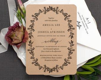 Rustic Wedding Invitation / 'Vintage Wreath' Elegant Botanical Modern Calligraphy Wedding Invite  / Recycled Kraft Brown Card / ONE SAMPLE