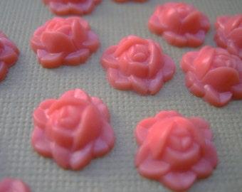 Mini pink coral vintage rose cabs