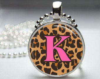 Leopard Print Alphabet Inital Monogram Custom Pendant Necklace with Silver Ball or Snake Chain Necklace or Key Ring