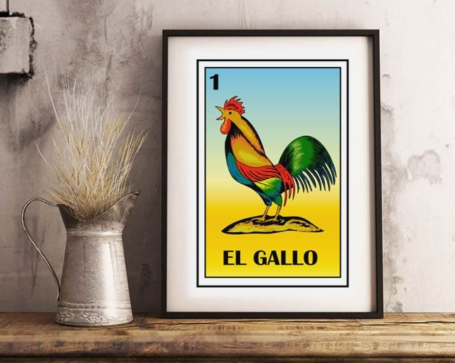 Mexican loteria El gallo loteria card Country wall Art The
