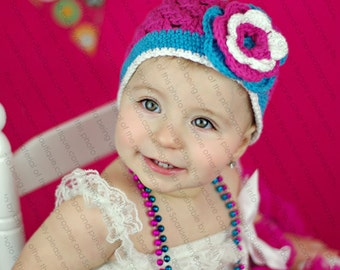 "Beanie Hat Crocheted ""The Cotton Candy"" Hot Pink Hot Blue White Bright Colorful Trim Flower"