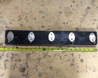 Rad Spoon Key Rack Distressed Black Recycled Silverware
