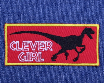 """Velociraptor Clever Girl Patch – 1.75"""" x 4"""" Clever Girl Velociraptor Patch for Jacket – Dinosaur Patch – Patch for Backpack – Gifts Under 10"""
