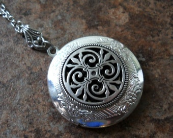 Wrought Iron Inspired Filigree Locket in Silver
