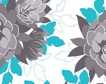 Stretchy Blue or Grey Desert Bloom Floral Cotton Knit fabric