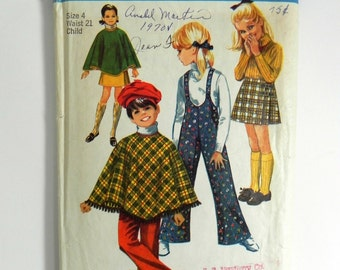SIZE 4 8425 GIRL'S Simplicity Sewing Pattern 1969 Vintage 1960s Poncho Skirt Bell Bottom Suspender Pants Overalls Kids Children's Girls