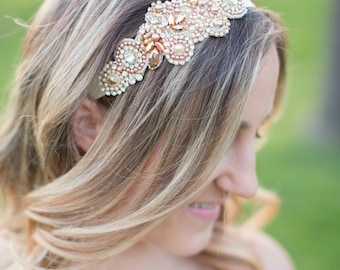 Rose Gold Crystal Headpiece - Vintage Wedding - One of a Kind Hand Stitched