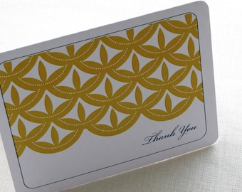 Asian Vintage Thank You Card - Personalized Note Card - Gift Set of 10