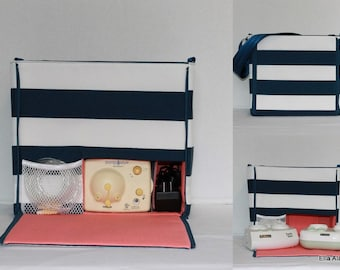 Ready to ship* XS Ella style Breast Pump Bag in Navy stripe print with zipper top closure