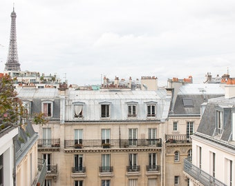 Paris Photography, Eiffel Tower with the Parisian Rooftops, April in Paris, Paris Home Decor, White Wall Art Paris, Architecture