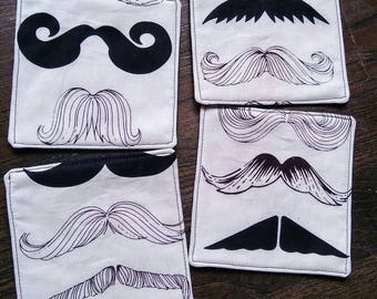 Set of 4 Reversible Black and Ivory Mustache Square Fabric Coasters
