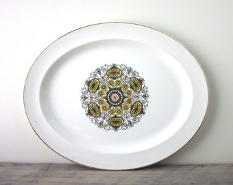 Large Vintage Ironstone Platter with Green Mid Century Design