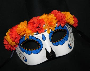 Orange, Yellow, Blue and White Day of the Dead Mask - Halloween Mask