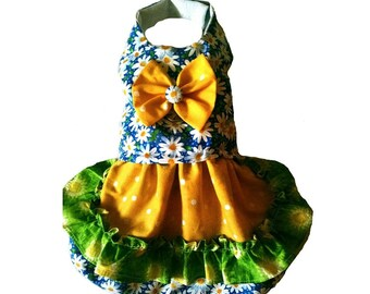 A pretty little dog dress or vest for St. Patrick's day for your Irish Pet or Chihuahua or Yorkie or a Spring daisy dress
