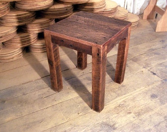 Solid Oak Rustic Parsons Style End Table