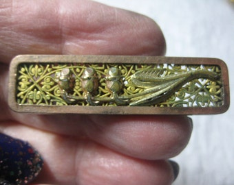 Antique Victorian or Edwardian Bar Pin in Gold Topped Metal with Filigree and Flowers