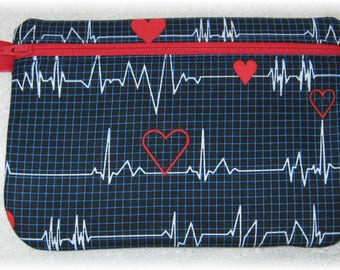 Nurse heart EKG monitor tech fabric purse, pouch with zipper, nursing school graduation gift idea, cosmetic bag, birthday mom sister aunt