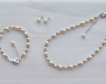 Flower Girl Jewelry Ivory Swarovski Pearls and Light Colorado Topaz Crystals Bridal Jewelry Set