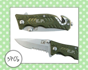 THREE Personalized Forest Green Pocket Knife - Gifts for Him, Gifts for Dad, Wedding Favors, Groomsman Gift, Groomsmen Gift