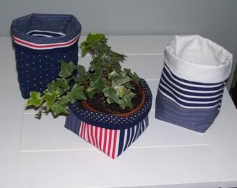 FABRIC STORAGE BASKET - storage basket set of 3 - red/white/navy blue storage basket set - home decor - stripe fabric basket -